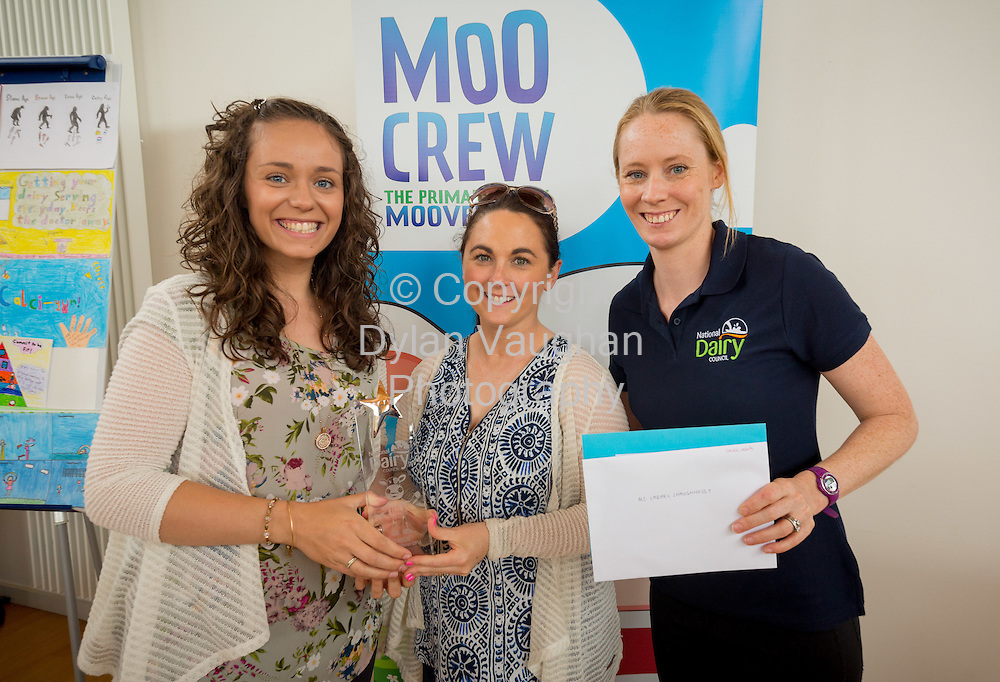 Repro Free no charge for Repro<br /> <br /> 15-6-16<br /> <br /> DERVAL O&rsquo;ROURKE CELEBRATES WITH WINNING MOO CREW SCHOOLS FROM DONEGAL &amp; LONGFORD<br />  <br /> Derval O&rsquo;Rourke, the well-known sprint hurdler who is a World Indoor Champion, multiple European medallist and three time Olympian, was in Dublin today (15th June, 2016) to celebrate with the top winning primary school children in the National Dairy Council&rsquo;s Moo Crew &ndash; Primary Dairy Moovement.<br /> Moo Crew is a fun and interactive way for children to learn about the benefits of a healthy, balanced diet and the importance of exercise &ndash; to &lsquo;get moo-ving&rsquo;.  It is supported by the NDC in light of research that showed 37% of girls and 28% of boys aged from 5 &ndash; 12 years in Ireland had inadequate calcium intakes in their diet.<br />  <br /> The top classes in the Junior Category and Senior Category of the NDC&rsquo;s national competition each won a sports equipment pack worth &euro;1,000 for their school and the day out in Airfield Farm in Dublin, with Olympic star Derval O&rsquo;Rourke.  The overall national winners of Moo Crew for 2016 are:<br /> &middot;         National Winners, Junior Category - Junior Class, Little Angels Special School, Letterkenny, Co. Donegal (Junior class Teacher Mr. Daire Diver)<br /> &middot;         National Winners, Senior Category - 4th &amp; 5th Class, Sacred Heart Primary School, Granard, Co Longford (Teachers Ms. Carmel Shaughnessy and Ms. Grace McGauran)<br /> <br /> Milly, the Moo Crew Mascot cow, joined in the action packed day which included milking cows, farmyard experiences and butter making; as well as activities such as bug hunting and woodland walks.  Further details and information about county winners at www.ndc.ie.<br />  <br /> Pictured at Airfield Farm were Derval O&rsquo;Rourke and teachers Grace McGauran and Carmel Shaughnessy McKeon from Sacred Heart Primary School, Granard, Co Longford.<br /> Picture Dylan Vau