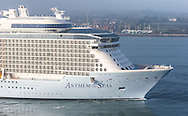 Royal Caribbean International's newest vessel, Anthem of the Seas, arrives into Southampton early this morning. The state of the art ship is 348m long, 41m wide and has 16 guest decks capable of carrying 4,000 passengers. She will spend the summer sailing from the port before transferring to New York.<br /> Picture date Wednesday 15th April, 2015.<br /> Picture by Christopher Ison. Contact +447544 044177 chris@christopherison.com