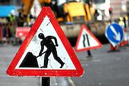Roadworks Warning Signs, London - 2008