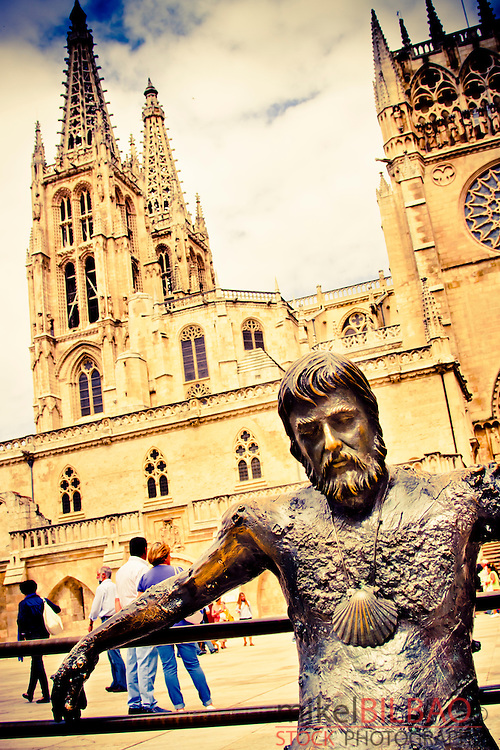 Statue and Cathedral. Burgos city.<br /> Castile and Leon, Spain.