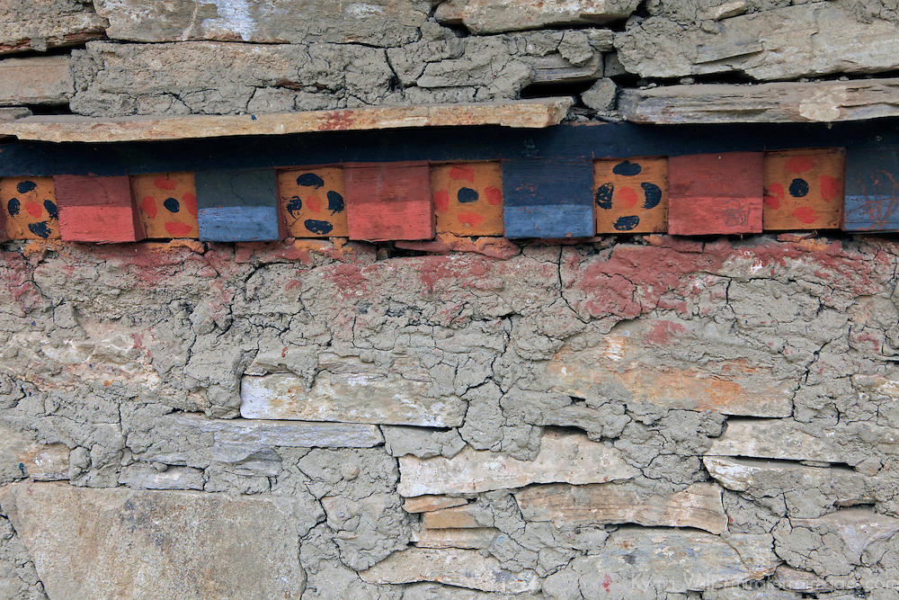 Asia, Bhutan, Thimpu. Typical architectural detail in preserved adobe building in Thimpu.