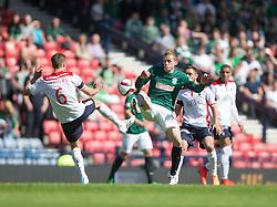 Falkirk's Will Vaulks and Hibernian's Scott Robinson.<br /> half time : Hibernian 0 v 0  Falkirk, William Hill Scottish Cup semi-final, played 18/4/2015 at Hamden Park, Glasgow.