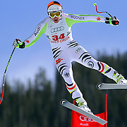SHOT 12/1/11 12:45:21 PM - German skiier Tobias Stechert gets a bit sideways off the Red Tail jump during men's downhill training on the Birds of Prey course at the Audi FIS World Cup on December 1, 2011 in Beaver Creek, Co. Stechert was able to land safely off the jump and finish his run. (Photo by Marc Piscotty / © 2011)