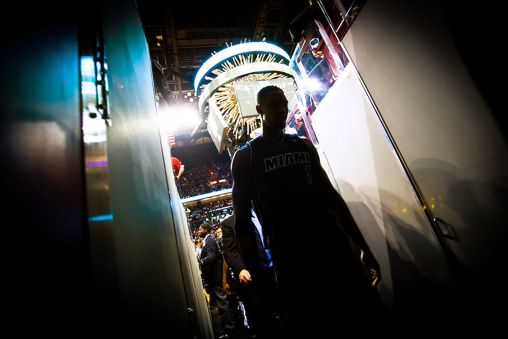 MIAMI, FL -- January 29, 2012 -- Miami's Chris Bosh leaves the court for halftime during the Heat's 97-93 win over the Chicago Bulls at American Airlines Arena in Miami, Fla., on Sunday, January 29, 2012.  (Chip Litherland for ESPN the Magazine)