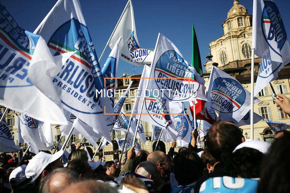 Comizio elettorale di Silvio Berlusconi leader del partito del Popolo della Libertà a Torino in Piazza Castello, 2 marzo 2008