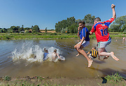19-7-16<br /> <br /> Kids from Thomastown pictured jumping into the River Nore at the Weir Pool in Thomastown Co. Kilkenny yesterday.<br /> Picture Dylan Vaughan