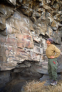 """Photographer and curator Terry Toedtemeier stands next to a gallary of complex pictographs with petroglyohs, estimated to be 2000 - 3000 years old in the Columbia River Gorge National Scenic Area. Native people who live in the area refer to the creators of the rock art in the Columbia River area as the """"River People"""". Much of the original rock art in the area has been flooded by hydro projects or vandalized, but there remain some prinstine examples in out of the way areas."""