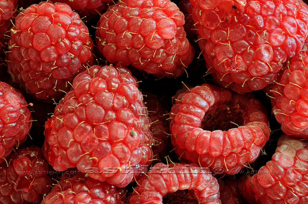 Raspberries (Rubus Idaeus), close-up.