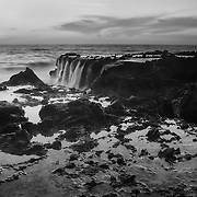 Victoria Beach Rock Shelf Waterfall Into Dusk - Black & White