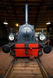 Steam locomotives on display at Deutsches Technikmuseum, German Museum of Technology, in Berlin, Germany