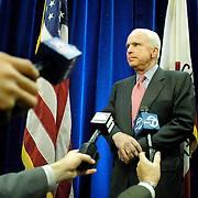 """Arizona Senator and presidential candidate John McCain fields questions from the press after delivering a speech to the Hoover Institute at Stanford University in Palo Alto, CA, May 1, 2007.  Among the topics of McCain's speech was the need to forge a """"League of Democracies"""" that would represent """"like-minded nations working together in the cause of peace."""""""
