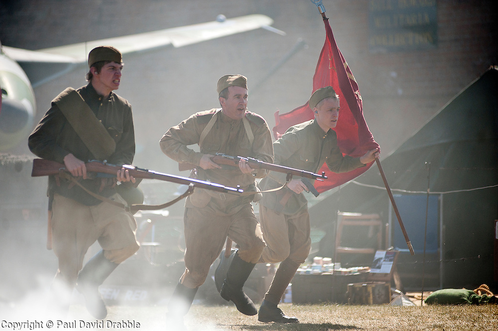 Re-enactors portray Soviet soldiers from the Russian 13th Guards Rifle Division &quot;Poltavaskaya&quot;<br />