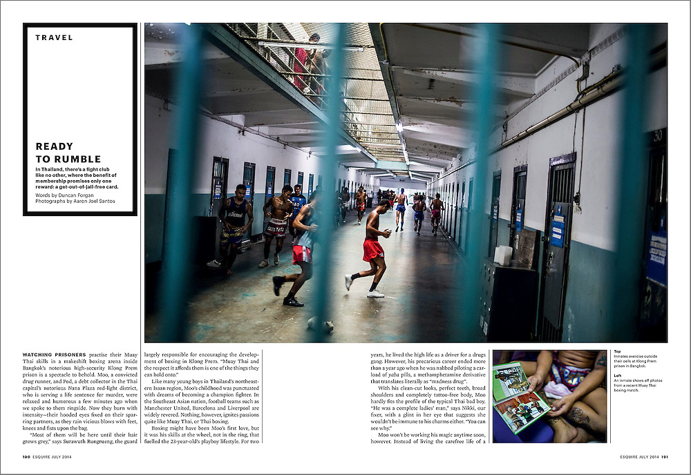 A feature spread on Muay Thai fighting in Thai prisons, published in Esquire SG.