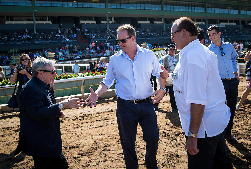 September 26 2015: Owner, Paul Reddam, congratulates trainer Doug O'Neill after winning the Frontrunner Stakes at Santa Anita Park, Arcadia CA. Alex Evers/ESW/CSM