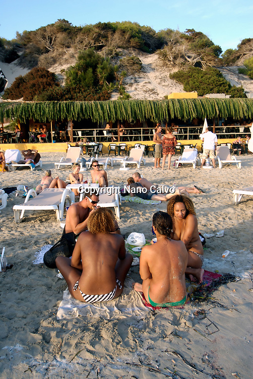 Daylife in Salinas beach. Named after the salt lakes in the south of Ibiza, the beach at Las Salinas is the southern most tip of the island and the most popular with celebrities