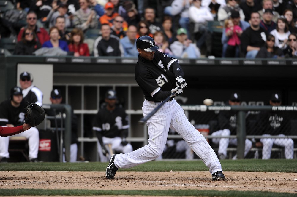 CHICAGO - APRIL 17:  Alex Rios #51 of the Chicago White Sox bats against the Los Angeles Angels of Anaheim on April 17, 2011 at U.S. Cellular Field in Chicago, Illinois.  The Angels defeated the White Sox 4-2.  (Photo by Ron Vesely)  Subject:  Alex Rios
