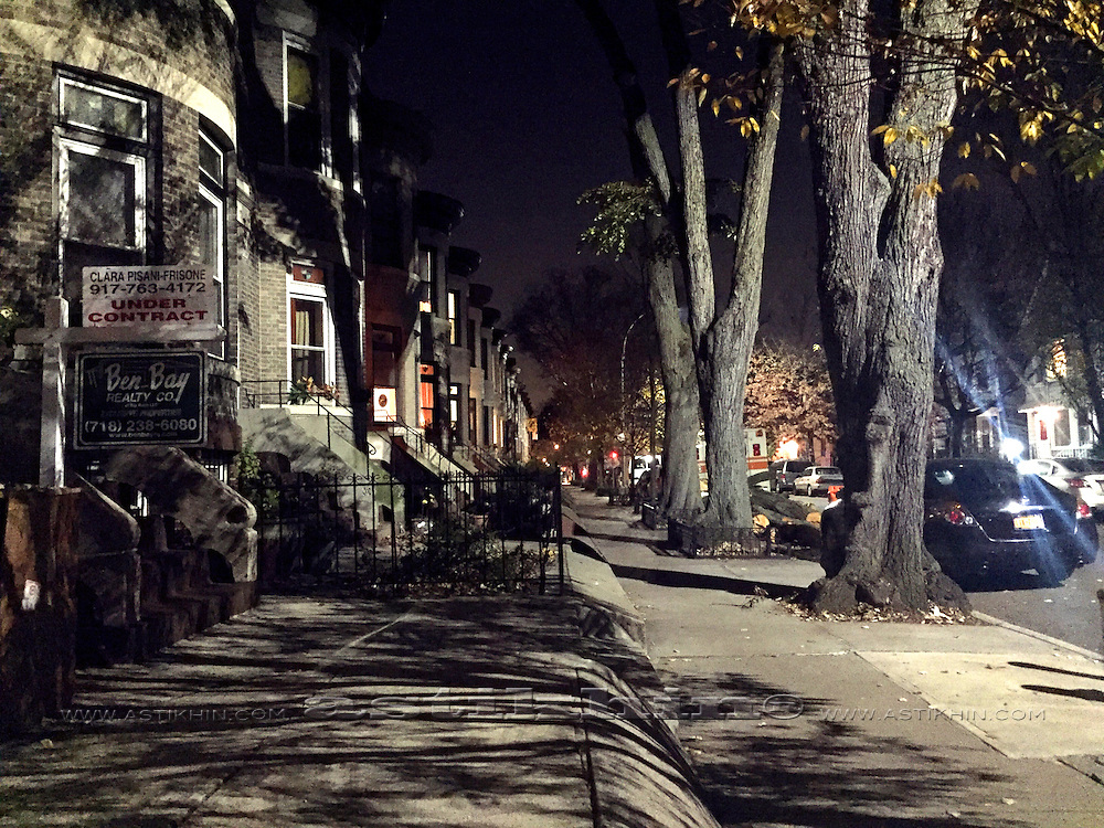 Street in Brooklyn at night.