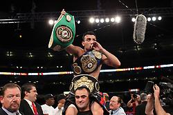 June 5, 2010; Bronx, NY; USA;  Vanes Martirosyan celebrates his decision win over Joe Greene at Yankee Stadium.