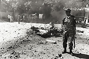A carbomb explosion at a local police station. in the center of mogadishu.