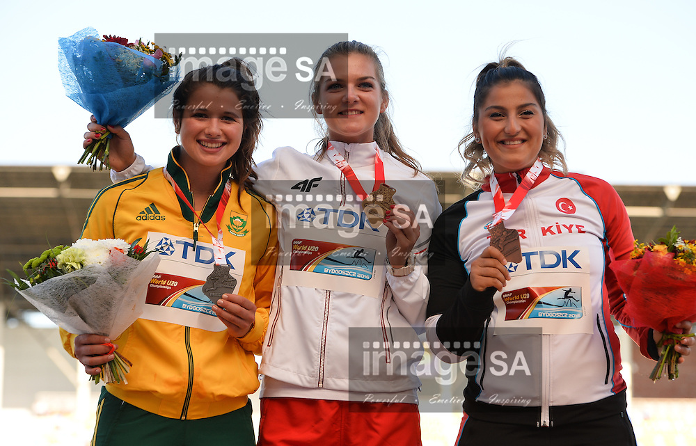 BYDGOSZCZ, POLAND - JULY 21: Jo-Ane van Dyk with her silver medal in the women's javelin with Klaudia Maruszewska (winner) from Poland and Eda Tugsuz of Turkey during the evening session on day 3 of the IAAF World Junior Championships at Zawisza Stadium on July 21, 2016 in Bydgoszcz, Poland. (Photo by Roger Sedres/Gallo Images)