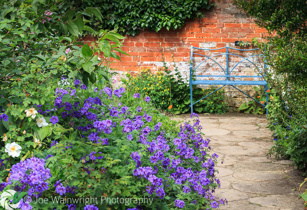 A pale blue bench and deep blue geraniums contrast with the terracotta hues of an old red brick wall, at Hidcote Manor Garden, Gloucestershire.