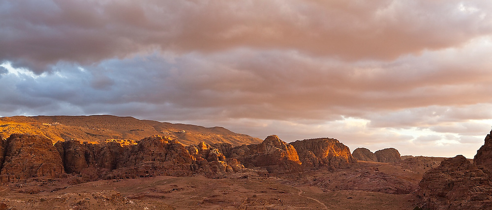 Sunset and storm clouds over Petra, Jordan.