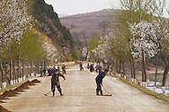 Road maintenance team at work, South Hamgyong Province, North Korea.