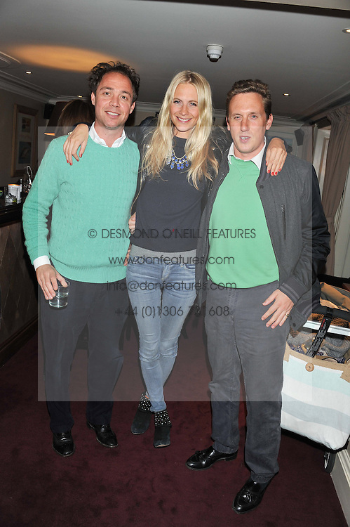 Left to right, DAN PHILLIPSON, POPPY DELEVINGNE and HARRY BECHER at the launch of The Art of handmade Living by Willow Crossley held at George, 87-88 Mount Street, London on 11th October 2012.