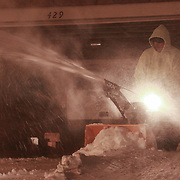 Mark of We Mow LLC uses a snowblower to remove snow Saturday, Jan, 23, 2016 in Newark.<br /> <br /> A massive blizzard dumps snow in Newark, and eastern United States on Friday, with mass flight cancellations, five states declaring states of emergency.