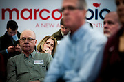 A potential supporter of Senator and 2016 Republican presidential candidate, Marco Rubio (R-FL), listens to him speak during a campaign event at Bev&rsquo;s on the River in Sioux City, IA on January 30, 2016. Rubio is in Iowa campaigning in the final days before the Iowa Caucus.<br /> <br /> The Iowa Caucus is the first major electoral event of the nominating process for President of the United States. Both the Democratic and Republican Iowa Caucus will occur on February 1, 2016.
