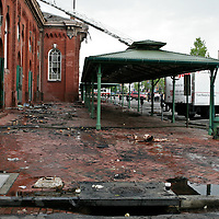 The Farmers' Shed on the morning after the Eastern Market fire in 2007.