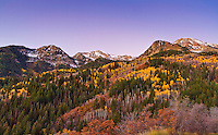 Utah Fall mountain colors along the Wasatch Front mountains in Utah.
