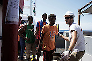 Italy: MSF Dignity1: metal detector control on the Dignity1 on August 23, 2015. Alessio Romenzi