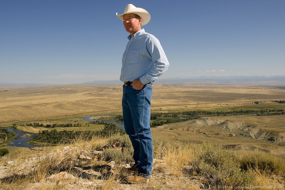 BIG PINEY, WY - Sublette County Commissioner John Linn at his home in rural Sublette County near Big Piney, Wy., on August 20, 2005. Linn was born and raised in Sublette County and lives on property that was once part of a large ranch owned by his grandfather. The butte above his land provides a sweeping panorama of the county including both current drilling fields and past oil and gas leases as he county has been through several boom and bust cycles created by the oil and gas industry. A fence builder during the summer and snowboarder in the winter, Linn has a fairly free-form growth management mindset that embraces the economic opportunities provided by the county's gas boom.