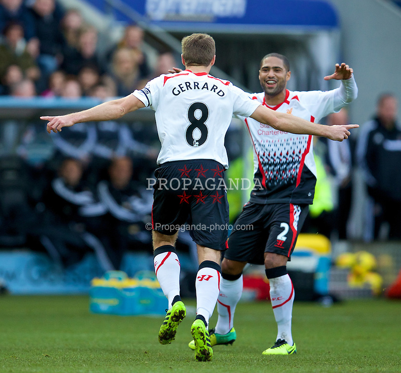 HULL, ENGLAND - Sunday, December 1, 2013: Liverpool's captain Steven Gerrard celebrates scoring the first goal against Hull City with team-mate Glen Johnson during the Premiership match at the KC Stadium. (Pic by David Rawcliffe/Propaganda)