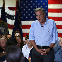 (Hudson, NH - 7/8/15) Republican presidential candidate Jeb Bush speaks during a town hall meeting at the Hudson, N.H., V.F.W., Wednesday, July 08, 2015. Staff photo by Angela Rowlings.