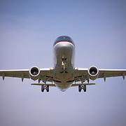 USA, Washington DC. A U.S. Airways jet on final approach into Washington Reagan National Airport.