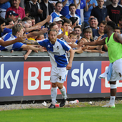 Stuart Sinclair of Bristol Rovers and Ellis Harrison with the fans - Mandatory byline: Neil Brookman/JMP - 07966386802 - 22/08/2015 - FOOTBALL - Memorial Stadium -Bristol,England - Bristol Rovers v Barnet - Sky Bet League Two