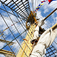Looking up a tall ship mast