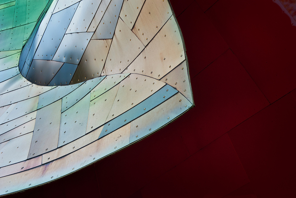 Close-up of a metal in EMP Museum in Seattle WA.