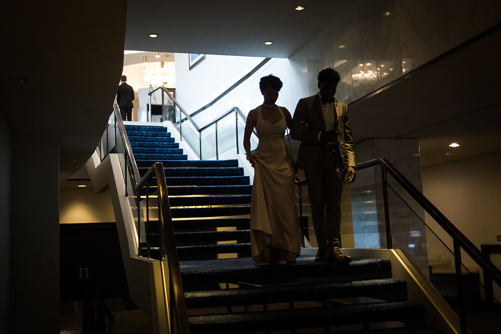 A couple arrives at the Washington Hilton for the red carpet ahead of the red carpet during the White House Correspondents' Dinner in Washington, D.C. on April 29, 2017. CREDIT: Mark Kauzlarich for CNN