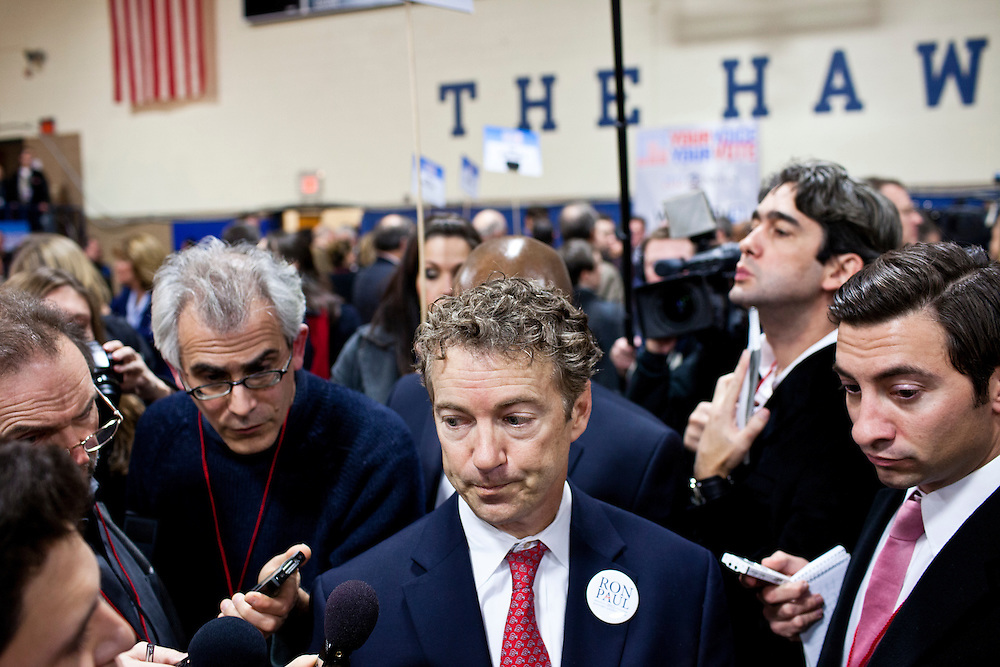 Sen. Rand Paul (R-KY), son of Republican presidential candidate Ron Paul, speaks to reporters in the spin room at the WMUR/ABC News Debate at Saint Anselm College on Saturday, January 7, 2012 in Manchester, NH. Brendan Hoffman for the New York Times
