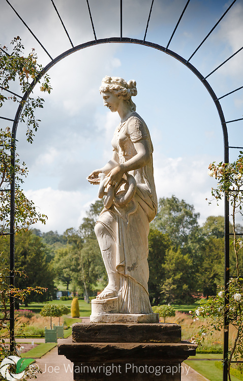 This statue of Hygieia, the godess of health in Greek and Roman mythology, can be found in the Trellis Walk, at Trentham Gardens, Staffordshire.