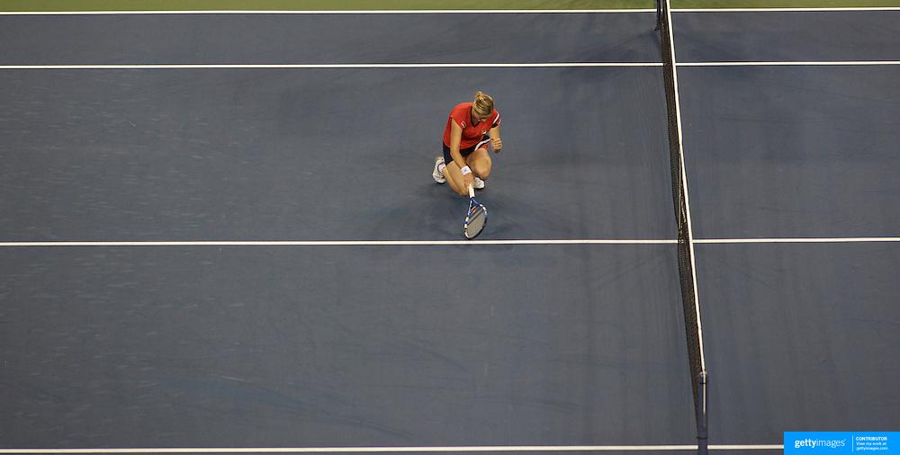 Kim Clijsters, Belgium, winning the Women's Singles Final  against Caroline Wozniacki, Denmark at  the US Open Tennis Tournament at Flushing Meadows, New York, USA, on Sunday, September 13, 2009. Photo Tim Clayton.