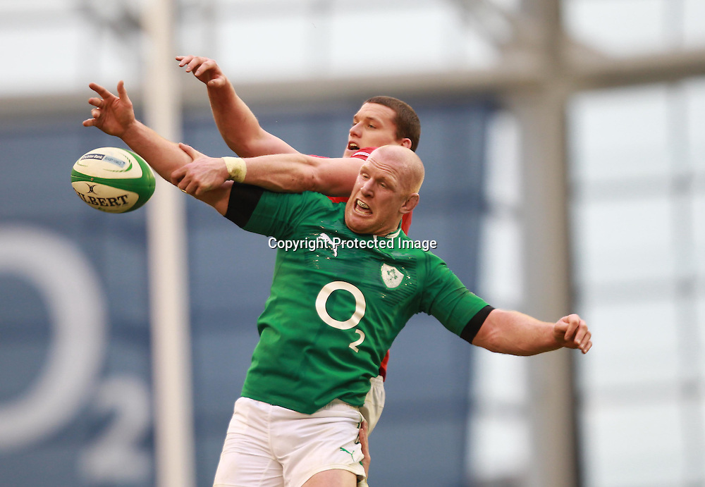 RBS Six Nations Championship, Aviva Stadium, Dublin 5/2/2012<br /> Ireland vs Wales<br /> Ireland's Paul O'Connell beats Ian Evans of Wales in a lineout<br /> Mandatory Credit &copy;INPHO/Billy Stickland