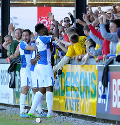 Jake Gosling of Bristol Rovers and Ellis Harrison celebrate Jermaine Easter goal with the fans - Mandatory byline: Neil Brookman/JMP - 07966 386802 - 26/09/2015 - FOOTBALL - Memorial Stadium - Bristol, England - Bristol Rovers v Portsmouth - Sky Bet League Two