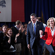 Mitt Romney and wife, Ann, celebrate with caucus night supporters at the Hotel Ft. Des Moines Tuesday, January 3, 2012, in Des Moines, IA...Photo by Khue Bui