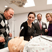03/11/2011 - Boston, Mass. - Fourth year student Diane Miller leads parents on a tour of the Tufts University School of Medicine's Clinical Skills and Simulation Center on Friday, March 11, 2011. (Emily Zilm for Tufts University)