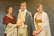 02/02/2012. London, UK.  Bloody Poetry by Howard Brenton at Jermyn Street Theatre. The Shelleys and Claire Clairemont fled from scandal in London to Lake Geneva, where Claire introduced the Shelleys to her lover, Lord Byron. Picture features Joanna Christie as Claire Clairemont, Rhiannon Sommers as Mary Shelley and Joe Bannister as Percy Bysshe Shelley.