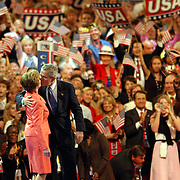 President George W. Bush kisses his wife, Laura after he excepted the nomination for President of the United States from the Repulican National Convention at Madison Square Garden in New York City on Sept. 2, 2004 Sandy Schaeffer/MAI Sandy Schaeffer Photography - Washington DC Photographer<br /> Corporate, Capitol Hill, Public Relations, <br /> Association, Portrait, and Commercial Photography.